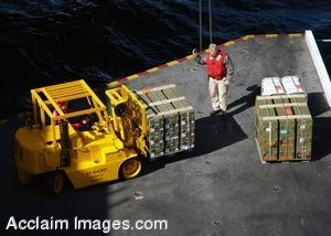 Clipart Photo of Forklift Moving Cargo Onto an Aircraft Elevator Aboard a Ship