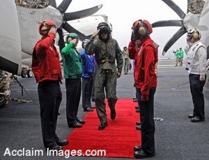 Soldiers Saluting As a V.I.P. Arrives on the Red Carpet in a Clipart Picture