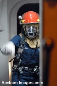 Clipart Photorgaph of a Military Firefighter in Full Safety Gear