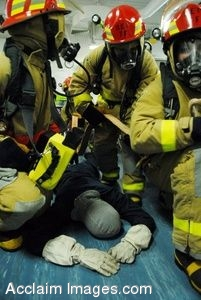 Firefighters Around ATraining Dummy in a Clipart Photograph