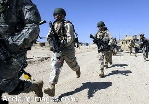 Clip Art Photo of Soldiers Running in the Desert