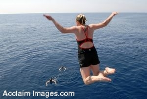 Clipart Photograph of a Girl Leaping Into the Ocean Off the Side of a Navy Ship