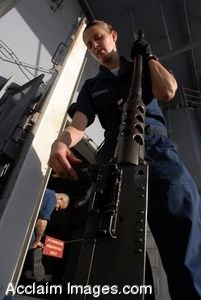 Clipart Photograph of a U.S. Navy Sailor Loading a Clip Into a Rifle