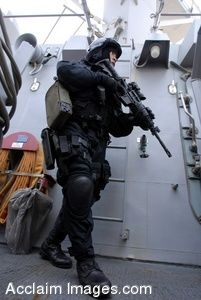 Clipart Photograph of a Soldier Scouting the Deck of a Ship in a Combat Uniform