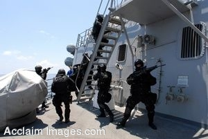 Armed Soldiers in All Black Search the Deck of a Ship in a Clipart Picture