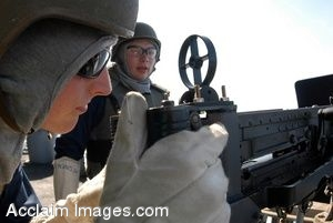 Clipart Picture of a Soldier Aiming a Machine Gun With a Sailor Watching