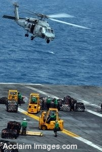 Clipart Picture of Sailors Moving Cargo Using Forklifts With A Helicopter Flying Over