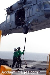 Clipart Photo of Sailors in Refueling a Helicopter on a Ship Flight Deck