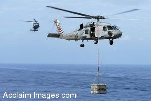 Clipart Photograph of Supplies For Ships At Sea Being Brought In By Helicopters