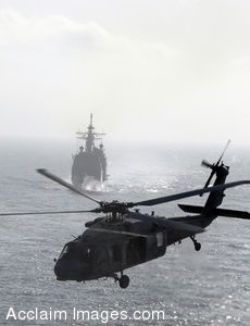 Clipart Photo of a Helicopter Flying Away From a Ship