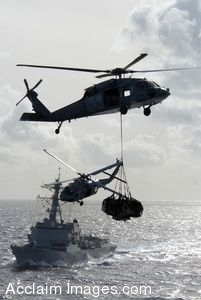 Clipart Picture of Supplies Being Brought to Navy Ships at Sea By Helicopters