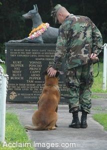 Clipart Photo of a Soldier and Dog at a Military Working Dog Memorial Statue