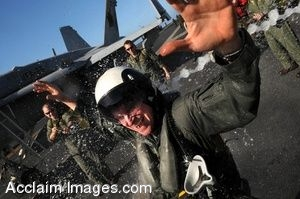 Clipart Photo of Sailors Getting Sprayed by Water on a Flight Deck