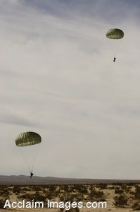 Clipart Photograph of Soldiers Parachuting Into the Desert