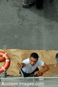 Clipart Photo of a Sailor Painting the Wall of a Ship