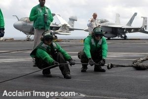 Clip Art Photo of Sailors on an Aircraft Carrier Flight Deck