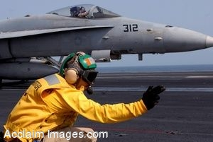 Clipart Photo of a Sailor Giving a Jet a Hand Signal