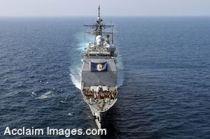 Clip Art Photo of Aerial View of a Military Ship in the Ocean