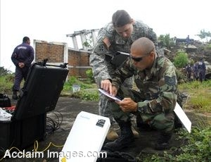 Clipart Photo of Soldiers Getting Equipment Set Up for an Exercise