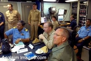 Clipart Photograph of Officers of High Rank Gathered in a Briefing Room