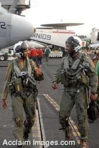 Clipart Photograph of Pilots Talking As They Walk Across a Flight Deck