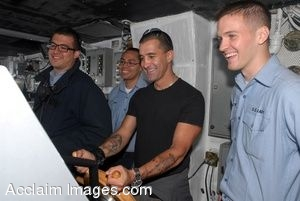 Clipart Photograph of Musician Scott Stapp Getting To Steer a Navy Ship