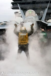 Clipart Photograph of a Sailor With a Jet Stopping In Front of Him
