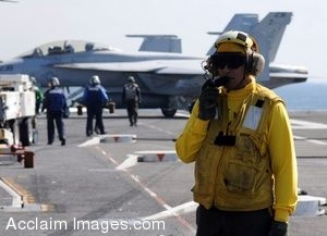 Clipart Picture of a Sailor on an Aircraft Carrier Flight Deck