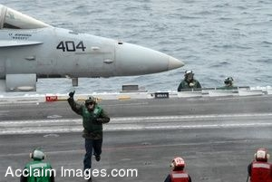 Clipart Photo of Soldiers Watching a Sailor Run Across a Flight Deck Past a Jet