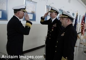 Clip Art Photo of Navy Officers Saluting One Another