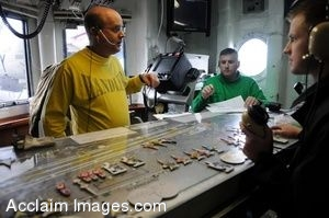 Clipart Photo of Sailors Conversing On Headsets In A Control Room