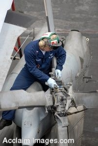 Clipart Photo of a Navy Mechanic Fixing a Helicopter Rotor