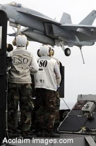 Clipart Photo of Soldiers Watching a Jet Coming in to Land on a Flight Deck