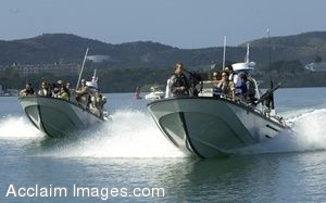 Clipart Photograph of Boats Holding Military Officials Touring Guantanamo Bay