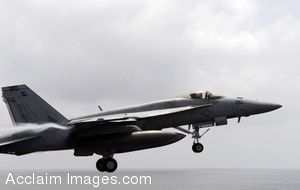 Clipart Photo of A Military Jet Taking Off