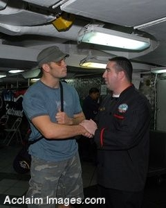 Clipart Photo of A UFC Fighter Shaking Hands With A Navy Soldier