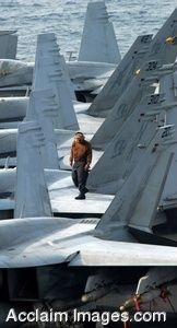 Clipart Photograph of a Soldier Walking On the Wing of a Jet