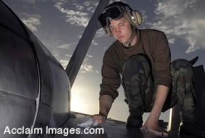 Clipart Photo of a Soldier Cleaning The Wing Of An Aircraft