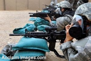 Clipart Photograph of Soldiers Aiming WeaponsThat Are Resting on Sandbags
