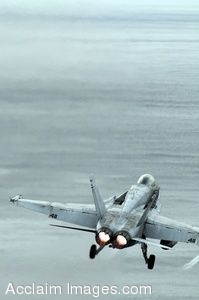 Clipart Photo of a Military Jet Flying Over Water