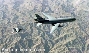Clipart Photograph of A Large Airplane Being Refueled Mid Flight By a Jet