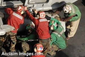 Clipart Picture of Soldiers Fixing the Side of a Helicopter