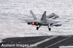 Clip Art Photo of a Jet Taking Off from the Flight Deck of an Aircraft Carrier