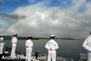 Clip Art Photo of Navy Sailors Standing on the Deck of a Ship Under A Rainbow