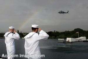 Clip Art Photo of Sailors Saluting a Helicopter