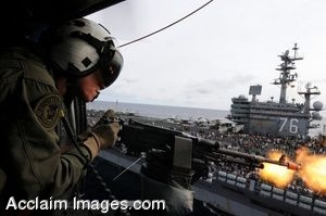Clipart Photograph of A Soldier Firing A Mounted Machine Gun From A Helicopter