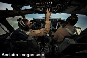 Clip Art Photo of Pilots Inside the Cockpit of an Aircraft
