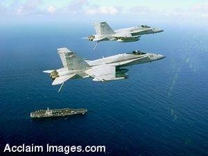Clip Art Photo of Two F/A-18C Hornet Jets Flying Above the USS Ronald Reagan Aircraft Carrier Stock Photography