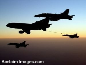Clip Art Photo of F/A-18 Hornet Jets Flying in the Sunset