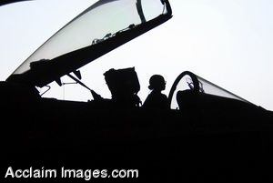 Clip Art Photo of a Female Pilot in the Cockpit of a Jet